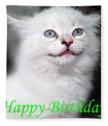 Happy Birthday Kitty Fleece Blanket