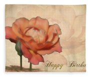 Happy Birthday Peach Rose Card Fleece Blanket