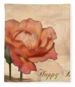 Happy Birthday Peach Rose Card Fleece Blanket