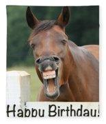 Happy Birthday Smiling Horse Fleece Blanket