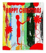 Happy Christmas 14 Fleece Blanket