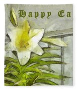 Happy Easter Lily Fleece Blanket