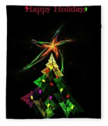 Happy Fractal Holidays Fleece Blanket
