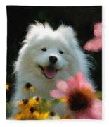 Happy Gal In The Garden Fleece Blanket