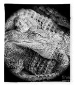 Happy Gator Black And White Fleece Blanket