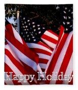 Happy Holidays Flag 1 Fleece Blanket
