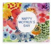 Happy Mothers Day Watercolor Garden- Art By Linda Woods Fleece Blanket
