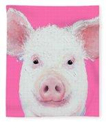 Happy Pig Portrait Fleece Blanket