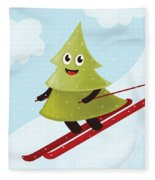 Happy Pine Tree On Ski Fleece Blanket