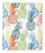 Happy Pineapple- Art By Linda Woods Fleece Blanket