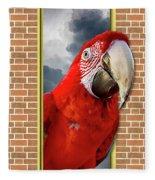 Happy Red Parrot Fleece Blanket