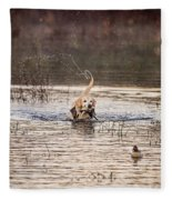Happy Retrieve Fleece Blanket
