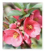 Happy Spring Flowering Quince Card And Poster Fleece Blanket