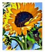 Happy Sunflower Fleece Blanket