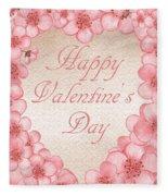 Happy Valentine Pink Heart Fleece Blanket