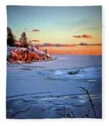 Harakka Island Sunset Fleece Blanket