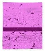 Harbor Gulls Purple Fleece Blanket