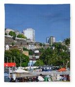 Harbor In Salvador Da Bahia Brazil Fleece Blanket
