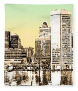 Harbor Lights From Federal Hill - Drawing Fx Fleece Blanket