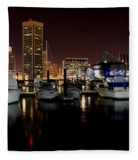 Harbor Nights - Trade Center In Focus Fleece Blanket