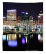 Harbor Nights In Baltimore Fleece Blanket