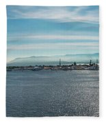 Harbor Panorama  Fleece Blanket
