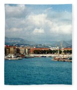Harbor Scene In Nice France Fleece Blanket