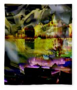 Harbor Scene Through A Vodka Bottle Fleece Blanket