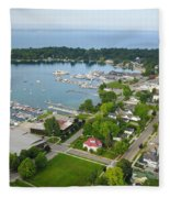 Harbor Springs From Above Fleece Blanket