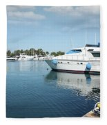 Harbor With Yacht And Boats Fleece Blanket