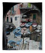 Harbor's Edge In Riomaggiore Fleece Blanket