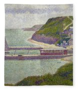 Harbour At Port En Bessin At High Tide Fleece Blanket