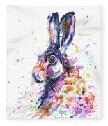 Hare In Grass Fleece Blanket