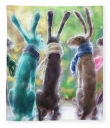 Hares With Scarves Fleece Blanket