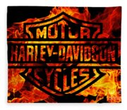 Harley Davidson Logo Flames Fleece Blanket