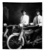 William Harley And Arthur Davidson, 1914 -- The Founders Of Harley Davidson Motorcycles Fleece Blanket