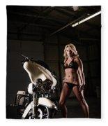 Harley Davidson Motorcycle Bikini  Fleece Blanket