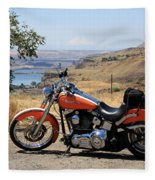 Harley With Columbia River And Mt Hood Fleece Blanket
