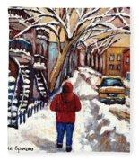Winter Walk After The Snowfall Best Montreal Street Scenes Paintings Canadian Artist Paysage Quebec Fleece Blanket