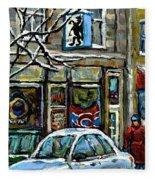 Achetez Les Meilleurs Scenes De Rue Montreal St Henri Cafe Original Montreal Street Scene Paintings Fleece Blanket