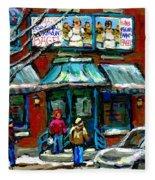 Achetez Les Meilleurs Scenes De Rue Montreal Boulangerie St Viateur Original Montreal Street Scenes  Fleece Blanket