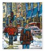 Achetez Les Meilleurs Scenes De Rue Montreal Best Original Art For Sale Montreal Streets Paintings Fleece Blanket