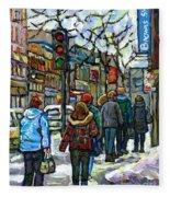 Buy Best Original Canadian Winter Scene Art Downtown Montreal Paintings Achetez Scene De Rue Quebec  Fleece Blanket