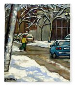 Canadian Artist Winter Scenes Original Paintings Quebec Streets Achetez  Montreal Art Online Fleece Blanket