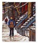 Canadian Art Winter Streets Original Paintings Verdun Montreal Quebec Scenes Achetez Les Meilleurs Fleece Blanket