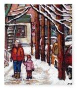 Canadian Winter Scene Paintings Original Art Verdun Montreal Achetez Scenes De Rue Quebec C Spandau  Fleece Blanket