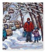 Paysages De Verdun Quebec A Vendre Original Verdun Montreal Winter Staircase Street Scene Paintings  Fleece Blanket