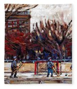 Paysages De Quebec Petits Formats A Vendre Hockey Rink Paintings Psc Original Montreal Street Scenes Fleece Blanket