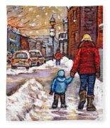 Original Montreal Street Scene Paintings For Sale Winter Walk After The Snowfall Best Canadian Art Fleece Blanket