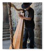 Harpist Street Musician, Barcelona, Spain Fleece Blanket
